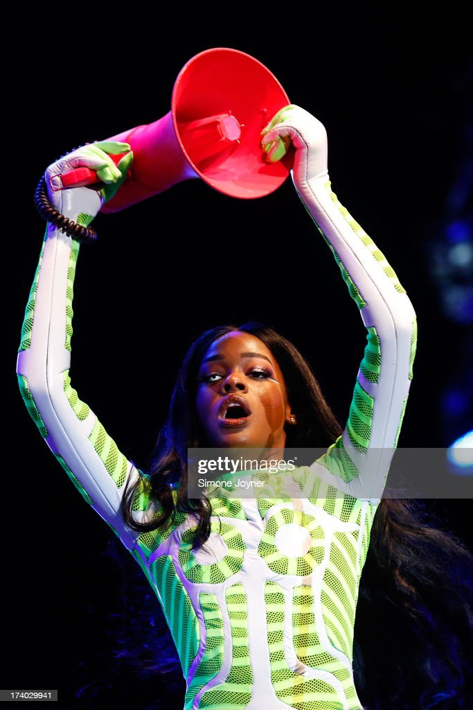 Rapper <a gi-track='captionPersonalityLinkClicked' href=/galleries/search?phrase=Azealia+Banks&family=editorial&specificpeople=8607708 ng-click='$event.stopPropagation()'>Azealia Banks</a> performs live on the main stage on Day 1 of the Lovebox festival at Victoria Park on July 19, 2013 in London, England.