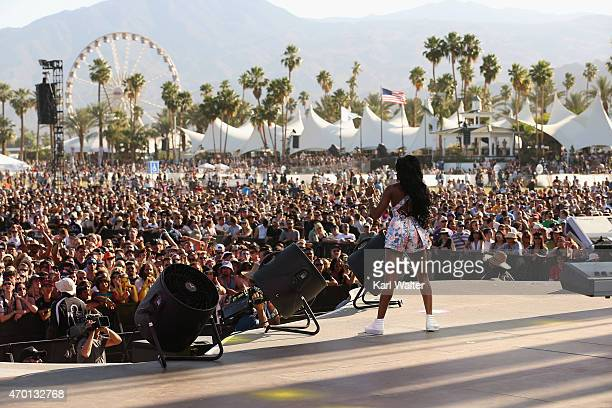 Rapper Azealia Banks performs onstage during day 1 of the 2015 Coachella Valley Music And Arts Festival at The Empire Polo Club on April 17 2015 in...