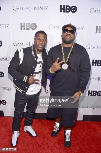 Rapper Big Boi and Comedian Kevin Hart arrive at the HBO Game of Thrones Catch The Throne All Star Weekend Event at Republic on February 16 2014 in...