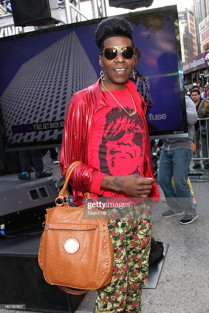 Rapper <a gi-track='captionPersonalityLinkClicked' href=/galleries/search?phrase=Big+Freedia&family=editorial&specificpeople=7263232 ng-click='$event.stopPropagation()'>Big Freedia</a> at Herald Square on September 25, 2013 in New York City.