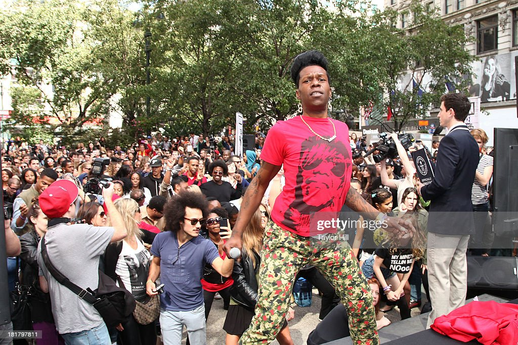 Rapper Big Freedia performs to break a Guinness World Record for most simultaneous twerking at Herald Square on September 25 2013 in New York City