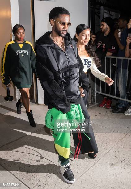 Rapper Big Sean and singer Jhene Aiko and are seen arriving the FENTY PUMA by Rihanna Spring/Summer 2018 Collection at Park Avenue Armory on...