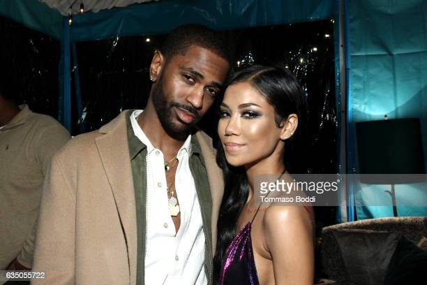 Rapper Big Sean and singer Jhene Aiko attend the Def Jam Toasts The Grammys at the Private Residence of Jonas Tahlin CEO Absolut Elyx on February 12...