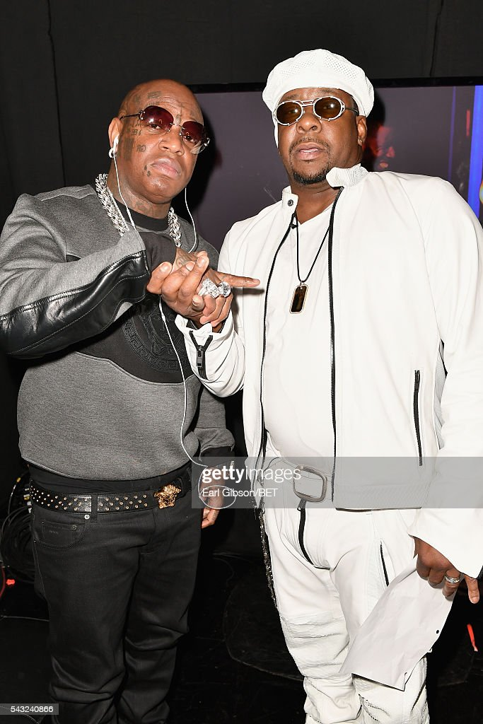 Rapper Birdman (L) and singer <a gi-track='captionPersonalityLinkClicked' href=/galleries/search?phrase=Bobby+Brown+-+Singer&family=editorial&specificpeople=12208409 ng-click='$event.stopPropagation()'>Bobby Brown</a> attend the 2016 BET Awards at the Microsoft Theater on June 26, 2016 in Los Angeles, California.