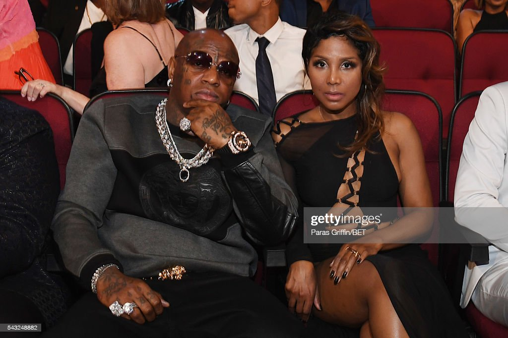 Rapper Birdman (L) and singer <a gi-track='captionPersonalityLinkClicked' href=/galleries/search?phrase=Toni+Braxton&family=editorial&specificpeople=213737 ng-click='$event.stopPropagation()'>Toni Braxton</a> attend the 2016 BET Awards at the Microsoft Theater on June 26, 2016 in Los Angeles, California.