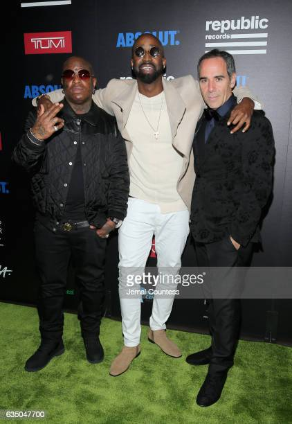 Rapper Birdman singer Sy Ari Da Kid and CEO of Republic Records Monte Lipman at a celebration of music with Republic Records in partnership with...