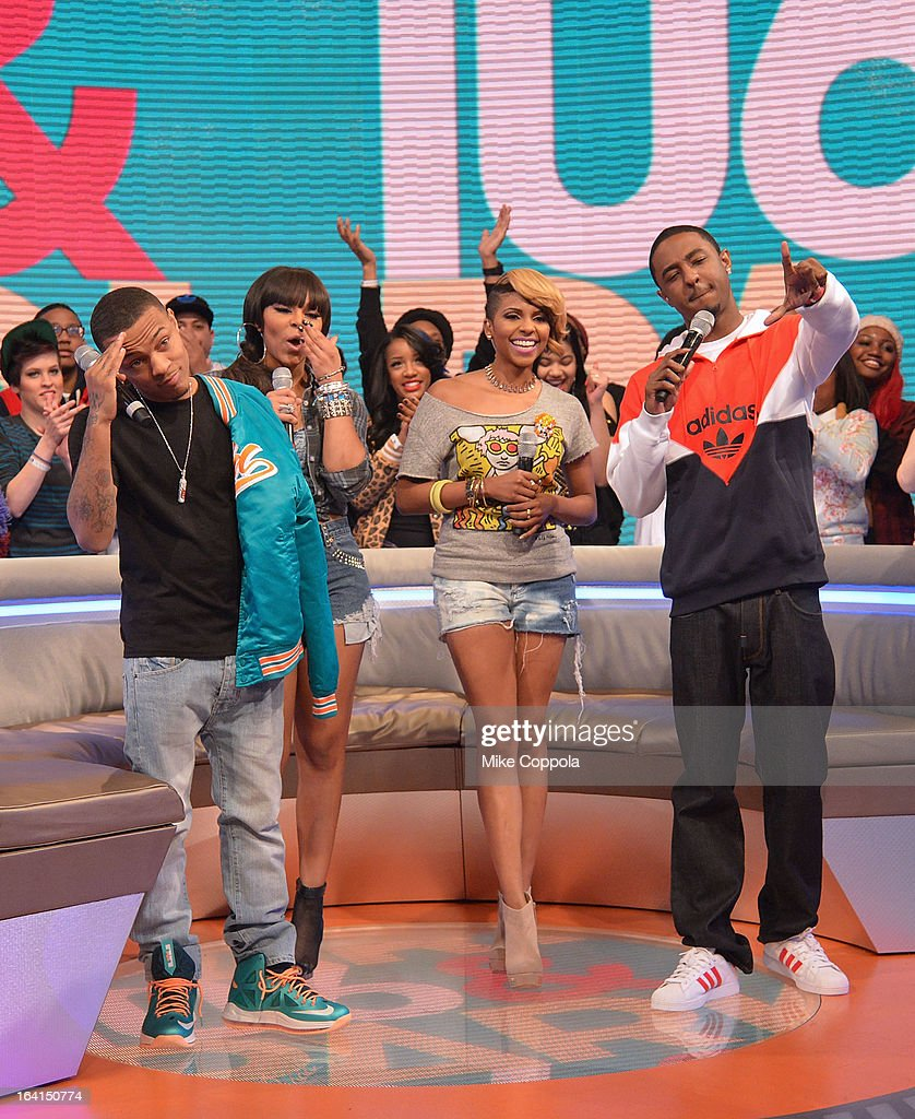 Rapper Bow Wow , actress Paigion, television personality Miss Mykie, and rapper Shorty da Prince co-host BET's 106th & Park show at 106 & Park Studio on March 20, 2013 in New York City.