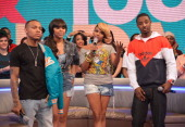 Rapper Bow Wow actress Paigion television personality Miss Mykie and rapper Shorty da Prince cohost BET's 106th Park show at 106 Park Studio on March...