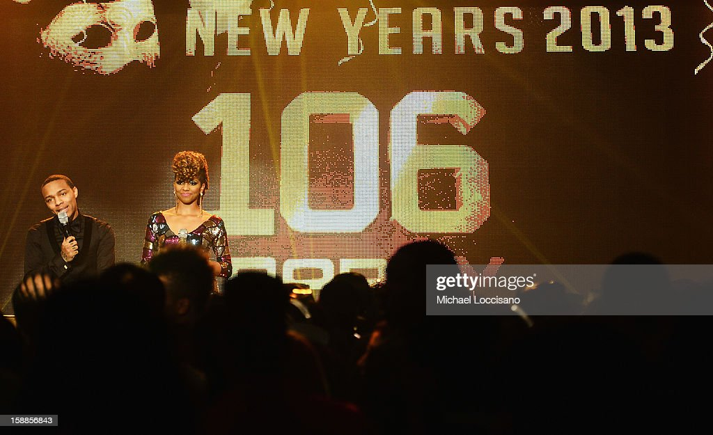 Rapper Bow Wow (L) and Miss Mykie host BET's 106 And Park 2013 New Years Eve Party at BET Studios on December 17, 2012 in New York City.