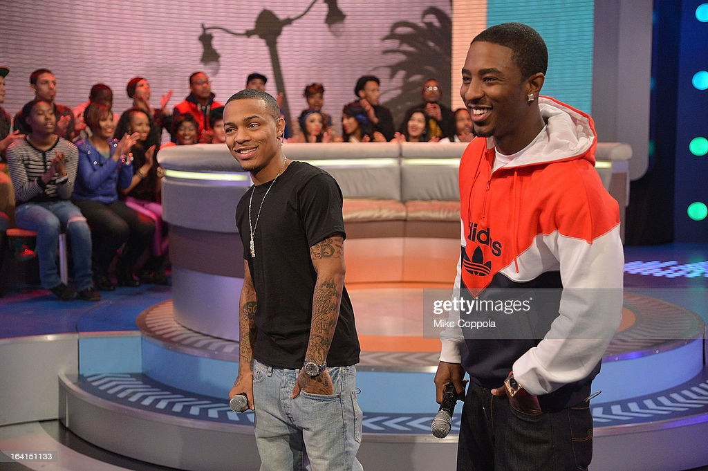 Rapper Bow Wow (L) and rapper Shorty da Prince co-host BET's 106th & Park show at 106 & Park Studio on March 20, 2013 in New York City.