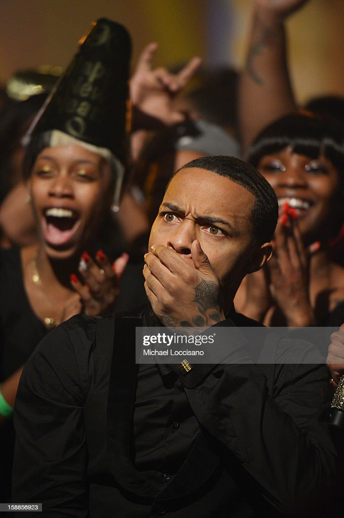 Rapper <a gi-track='captionPersonalityLinkClicked' href=/galleries/search?phrase=Bow+Wow+-+Rapper&family=editorial&specificpeople=211211 ng-click='$event.stopPropagation()'>Bow Wow</a> hosts BET's 106 And Park 2013 New Years Eve Party at BET Studios on December 17, 2012 in New York City.