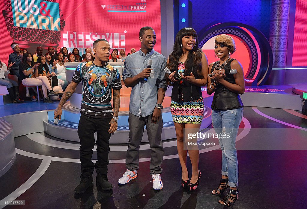 Rapper Bow Wow Shorty da Prince actress Paigion and television personality Miss Mykie cohost BET's 106th Park show at 106 Park Studio on March 20...