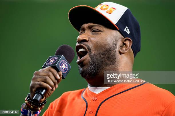 Rapper Bun B announces 'play ball' before game two of the American League Division Series between the Boston Red Sox and the Houston Astros on...