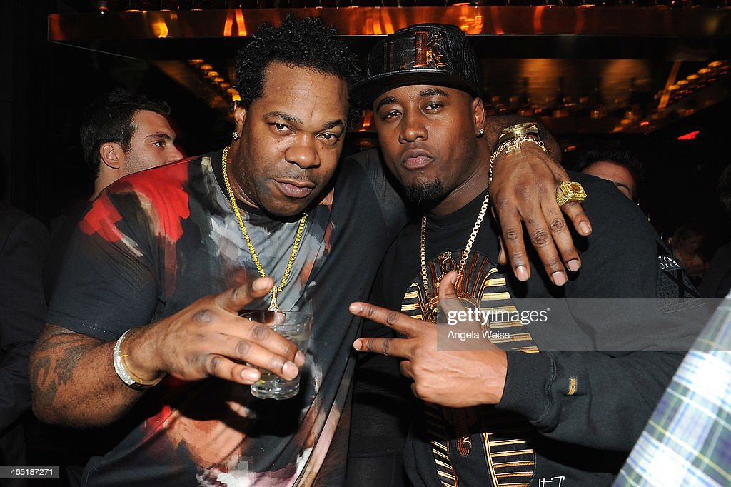 Rapper Busta Rhymes and producer The Dream attend the 1 OAK LA Grand Opening Weekend hosted by Jay Z and presented by D'usse on January 25, 2014 in Los Angeles, California.