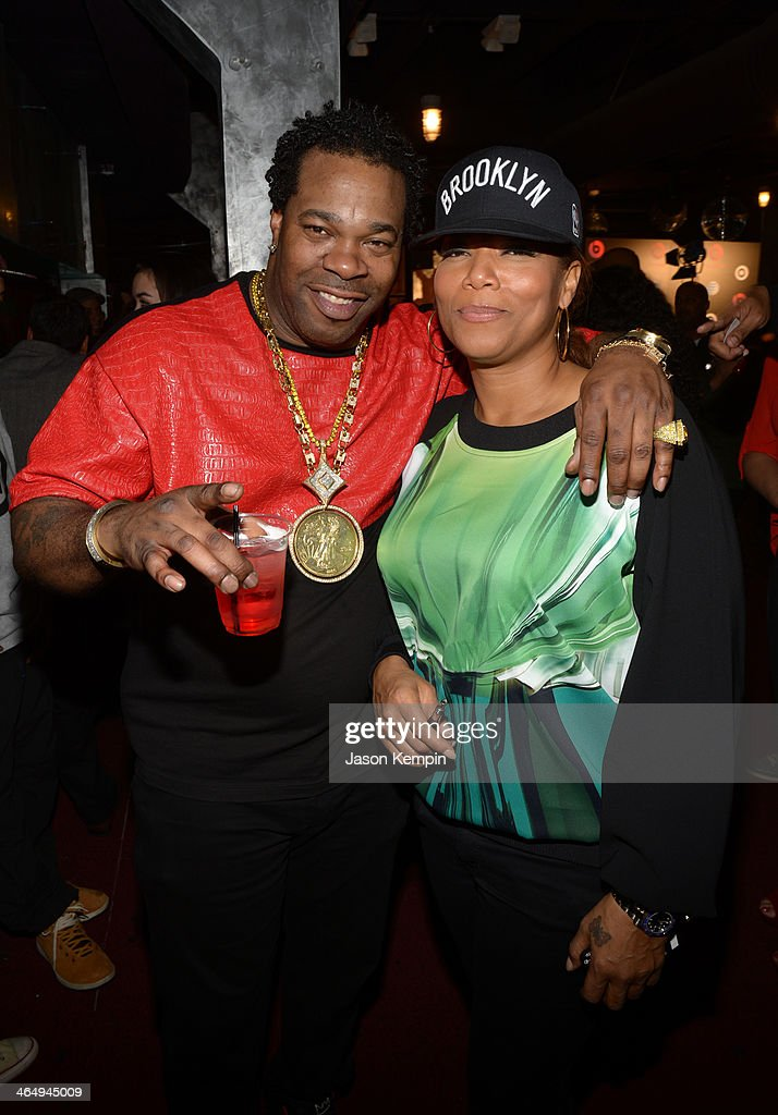 Rapper <a gi-track='captionPersonalityLinkClicked' href=/galleries/search?phrase=Busta+Rhymes&family=editorial&specificpeople=208120 ng-click='$event.stopPropagation()'>Busta Rhymes</a> (L) and singer/songwriter <a gi-track='captionPersonalityLinkClicked' href=/galleries/search?phrase=Queen+Latifah&family=editorial&specificpeople=171793 ng-click='$event.stopPropagation()'>Queen Latifah</a> attend the Beats Music Launch Party at Belasco Theatre on January 24, 2014 in Los Angeles, California.