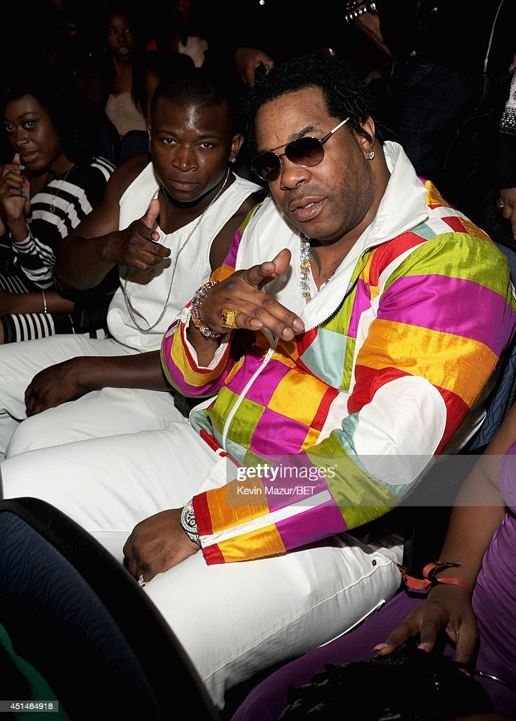 Rapper <a gi-track='captionPersonalityLinkClicked' href=/galleries/search?phrase=Busta+Rhymes&family=editorial&specificpeople=208120 ng-click='$event.stopPropagation()'>Busta Rhymes</a> (R) attends the BET AWARDS '14 at Nokia Theatre L.A. LIVE on June 29, 2014 in Los Angeles, California.