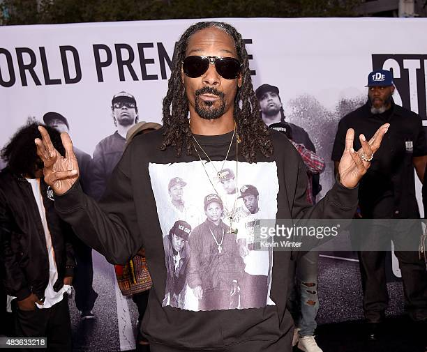 Rapper Calvin Broadus Jr aka Snoop Dogg arrives at the premiere of Universal Pictures and Legendary Pictures' 'Straight Outta Compton' at the...