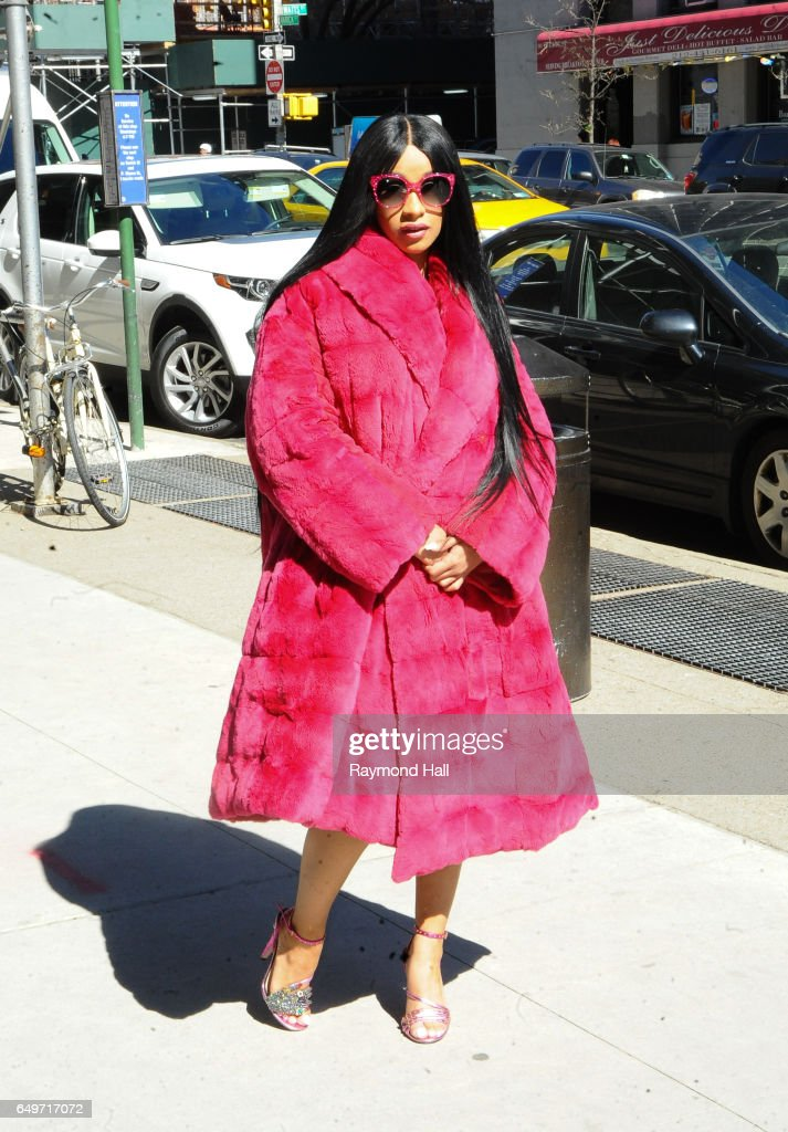 Rapper Cardi B is seen walking in Soho on March 8, 2017 in New York City.