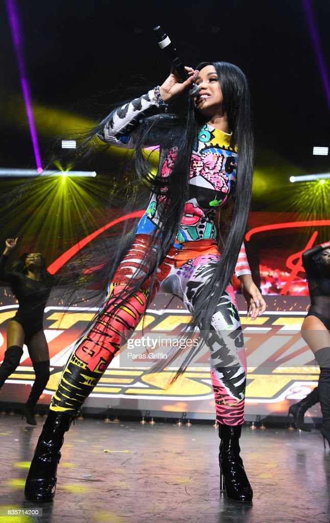 Rapper Cardi B performs onstage at Streetzfest 2K17 at Lakewood Amphitheatre on August 19, 2017 in Atlanta, Georgia.