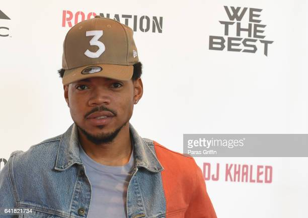 Rapper Chance The Rapper attends DJ Khaled's press conference at The Beverly Hills Hotel on February 9 2017 in Beverly Hills California