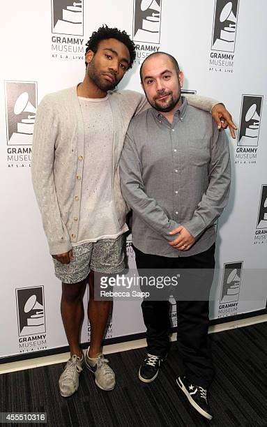 Rapper Childish Gambino and moderator and HOT 97 DJ Peter Rosenberg at Spotlight Childish Gambino at The GRAMMY Museum on September 15 2014 in Los...