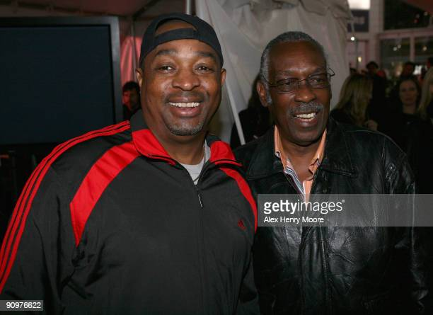 Rapper Chuck D and drummer Clyde Stubblefield attend the Wrap Party/Eclectic Method remixes The Essential 100 at Yonge and Dundas Square during the...