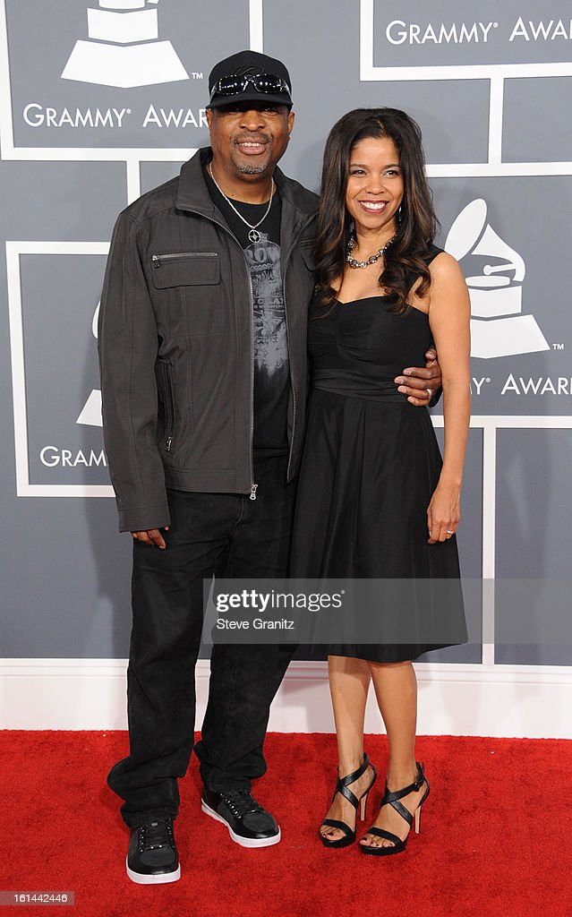 Rapper Chuck D (L) and Gaye Johnson attend the 55th Annual GRAMMY Awards at STAPLES Center on February 10, 2013 in Los Angeles, California.