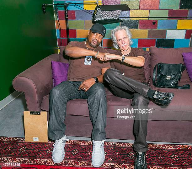 Rapper Chuck D and musician John Densmore attend the Record Store Day LA Press Conference 2014 at Amoeba Music on March 20 2014 in Hollywood...