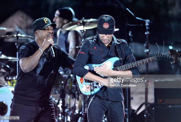 Rapper Chuck D and musician Tom Morello perform onstage at the 55th Annual GRAMMY Awards at Staples Center on February 10 2013 in Los Angeles...