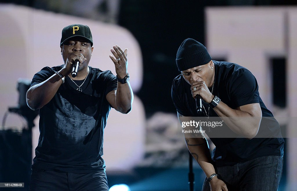Rapper <a gi-track='captionPersonalityLinkClicked' href=/galleries/search?phrase=Chuck+D&family=editorial&specificpeople=212935 ng-click='$event.stopPropagation()'>Chuck D</a> (L) and rapper/host <a gi-track='captionPersonalityLinkClicked' href=/galleries/search?phrase=LL+Cool+J&family=editorial&specificpeople=201567 ng-click='$event.stopPropagation()'>LL Cool J</a> perform onstage during the 55th Annual GRAMMY Awards at STAPLES Center on February 10, 2013 in Los Angeles, California.