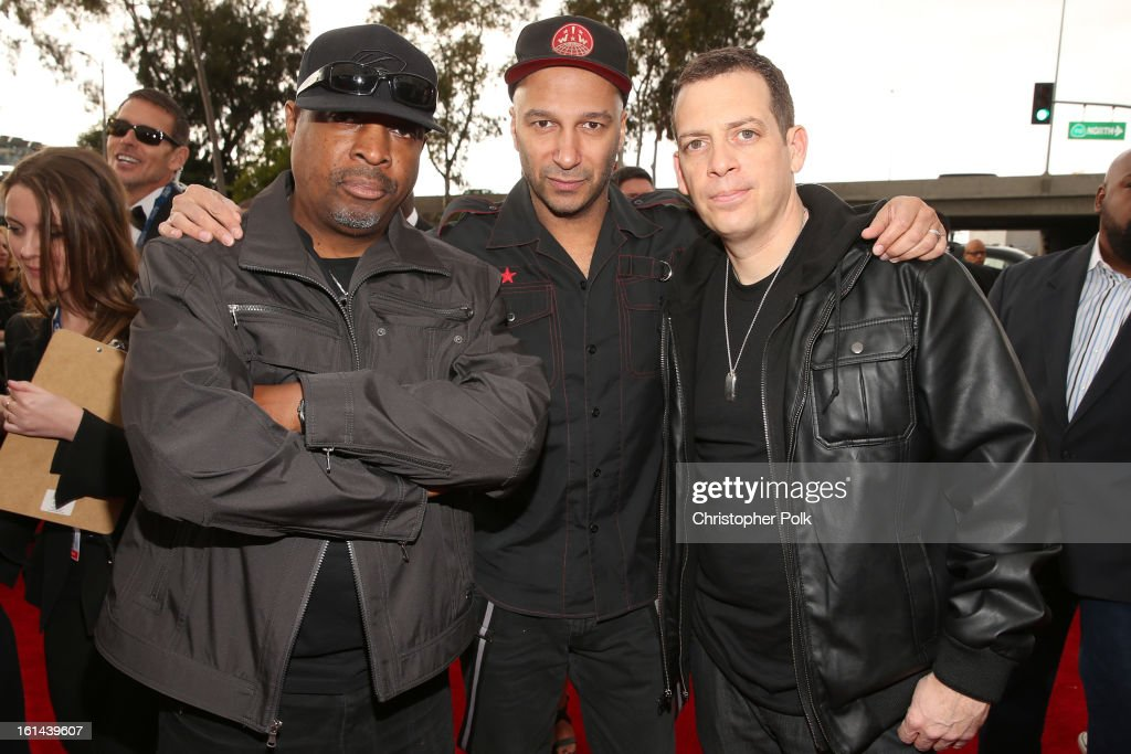 Rapper <a gi-track='captionPersonalityLinkClicked' href=/galleries/search?phrase=Chuck+D&family=editorial&specificpeople=212935 ng-click='$event.stopPropagation()'>Chuck D</a>, Musician <a gi-track='captionPersonalityLinkClicked' href=/galleries/search?phrase=Tom+Morello&family=editorial&specificpeople=2133151 ng-click='$event.stopPropagation()'>Tom Morello</a>, and DJ Z Trip attend the 55th Annual GRAMMY Awards at STAPLES Center on February 10, 2013 in Los Angeles, California.