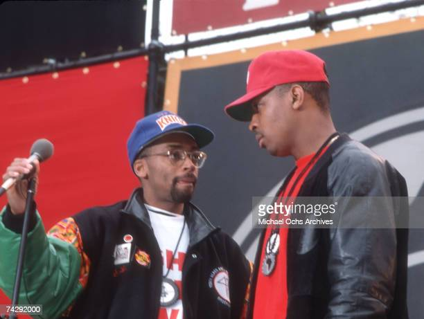 Rapper Chuck D of the rap group 'Public Enemy' and director Spike Lee film a video for their song 'Fight The Power' directed by Spike Lee in 1989 in...