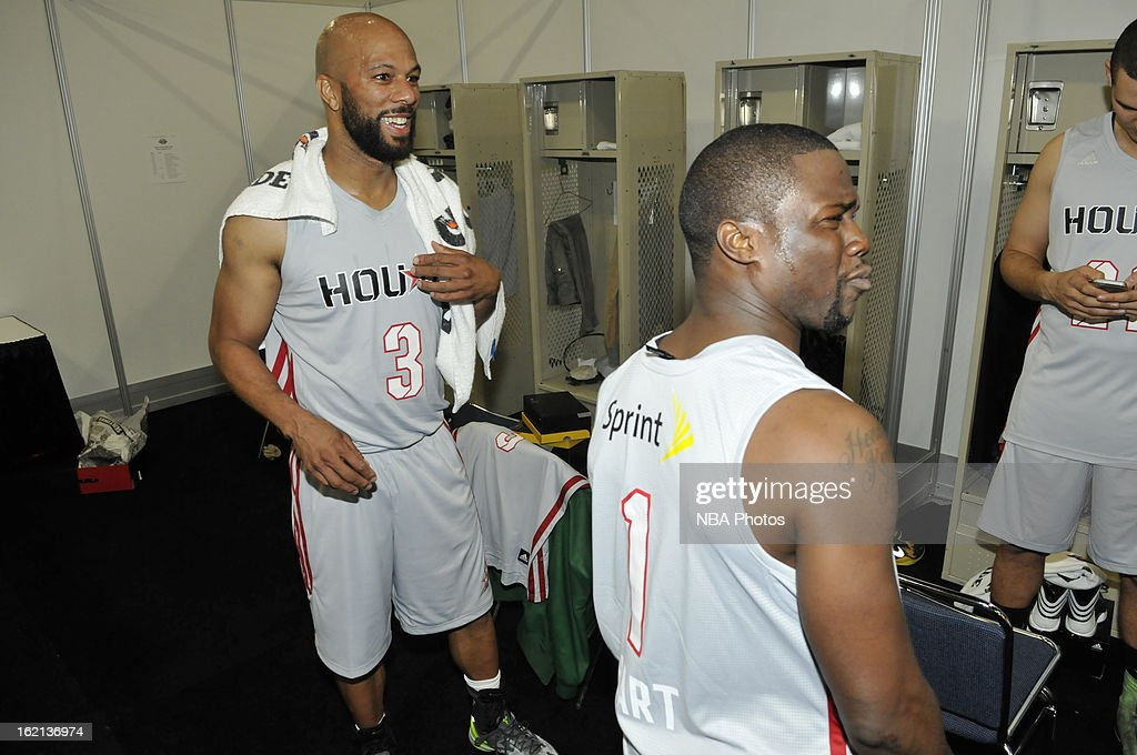 Rapper Common and Comedian Kevin Hart share a laugh in the lockerroom prior to the Sprint NBA All-Star Celebrity Game in Sprint Arena at Jam Session during the NBA All-Star Weekend on February 15, 2013 at the George R. Brown Convention Center in Houston, Texas.