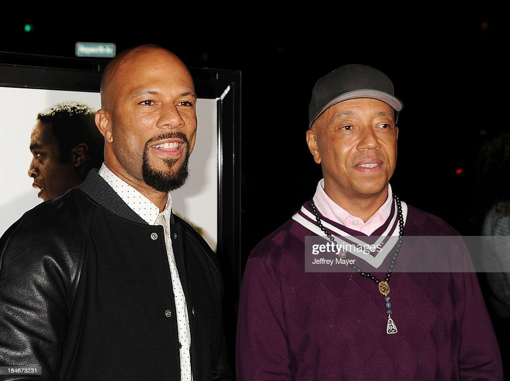 Rapper Common (L) and entrepreneur Russell Simmons arrive at the Los Angeles premiere of '12 Years A Slave' at Directors Guild Of America on October 14, 2013 in Los Angeles, California.