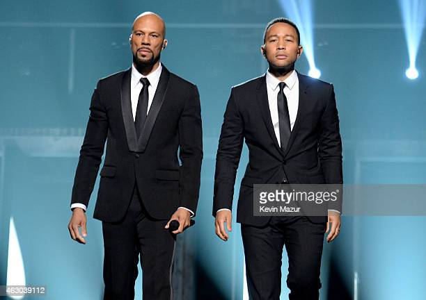 Rapper Common and musician John Legend onstage during The 57th Annual GRAMMY Awards at the STAPLES Center on February 8 2015 in Los Angeles California