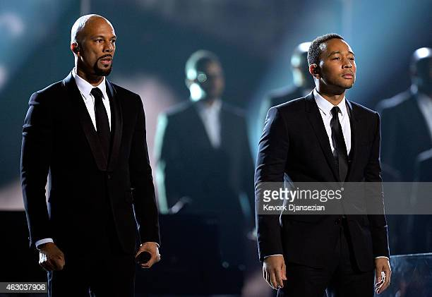 Rapper Common and singer John Legend perform 'Glory' onstage during The 57th Annual GRAMMY Awards at the at the STAPLES Center on February 8 2015 in...
