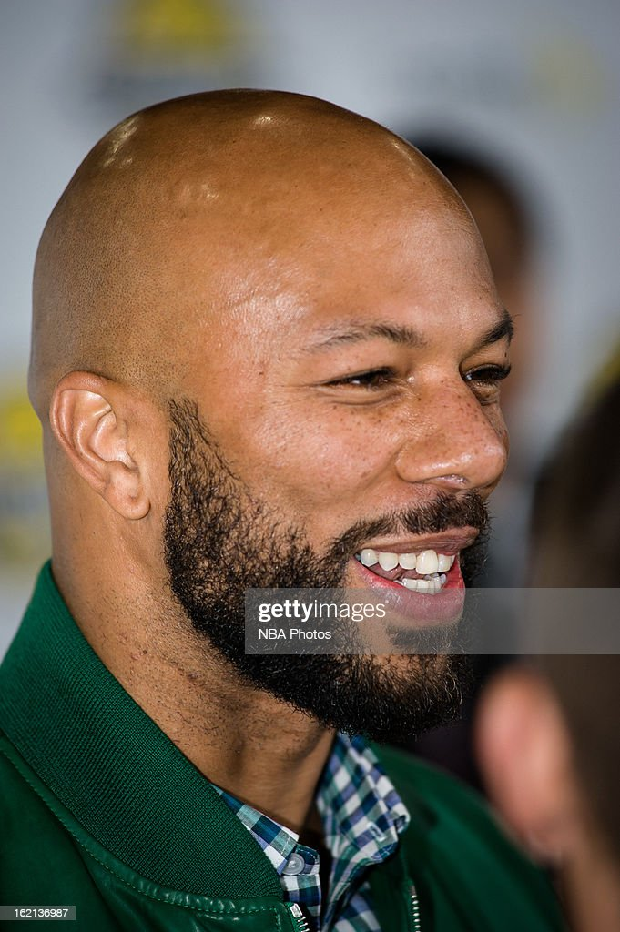 Rapper Common smiles during the Sprint NBA All-Star Celebrity Game in Sprint Arena at Jam Session during the NBA All-Star Weekend on February 15, 2013 at the George R. Brown Convention Center in Houston, Texas.