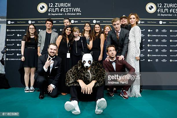 Rapper Cro poses with members of his team at the 'Unsere Zeit ist jetzt' premiere during the 12th Zurich Film Festival on October 1 2016 in Zurich...