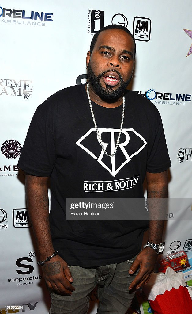 Rapper Crooked Eye attends Interscope Geffen A&M Promotions Department 9th Annual Holiday Party And Toy Drive at SupperClub Los Angeles on December 18, 2012 in Los Angeles, California.
