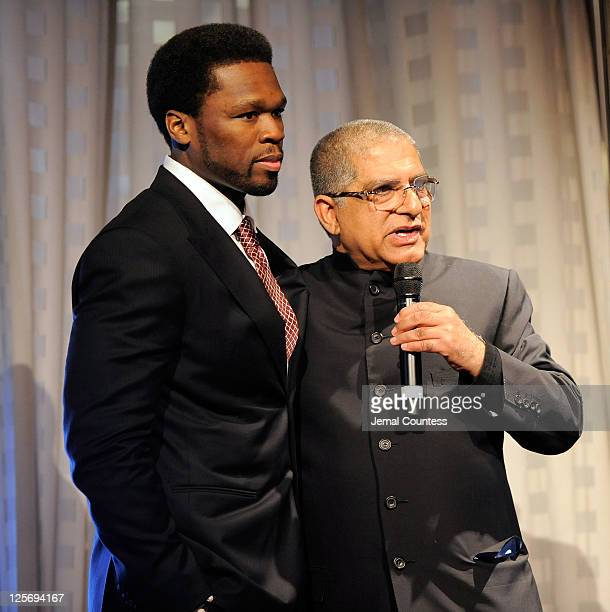 Rapper Curtis '50 Cent' Jackson and Dr Deepak Chopra attend the 'Every Woman Every Child' UN Reception at the Grand Hyatt on September 20 2011 in New...