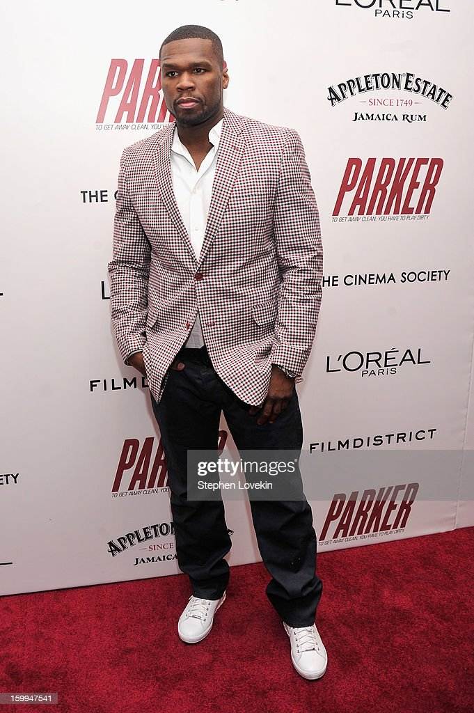 Rapper Curtis '50 Cent' Jackson attends a screening of 'Parker' hosted by FilmDistrict, The Cinema Society, L'Oreal Paris and Appleton Estate at MOMA on January 23, 2013 in New York City.