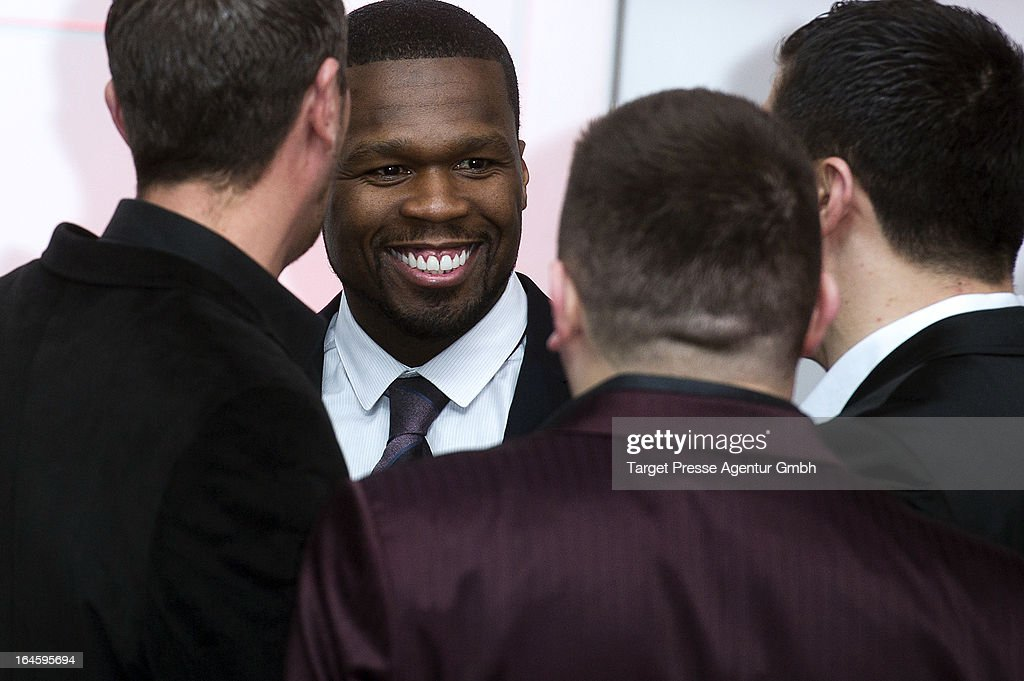 Rapper Curtis '<a gi-track='captionPersonalityLinkClicked' href=/galleries/search?phrase=50+Cent+-+Rapper&family=editorial&specificpeople=215363 ng-click='$event.stopPropagation()'>50 Cent</a>' Jackson attends the aftershow party to the german premiere of his movie 'All Things Fall Apart' at Hotel Berlin on March 24, 2013 in Berlin, Germany.