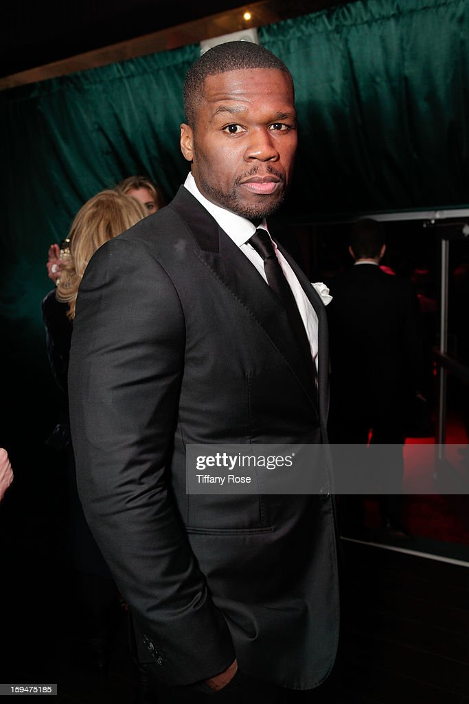 Rapper Curtis '<a gi-track='captionPersonalityLinkClicked' href=/galleries/search?phrase=50+Cent+-+Rapper&family=editorial&specificpeople=215363 ng-click='$event.stopPropagation()'>50 Cent</a>' Jackson attends the NBC/Universal/Focus Features/E! Networks Golden Globe Awards Celebration Designed And Produced By Angel City Designs at The Beverly Hilton Hotel on January 13, 2013 in Beverly Hills, California.