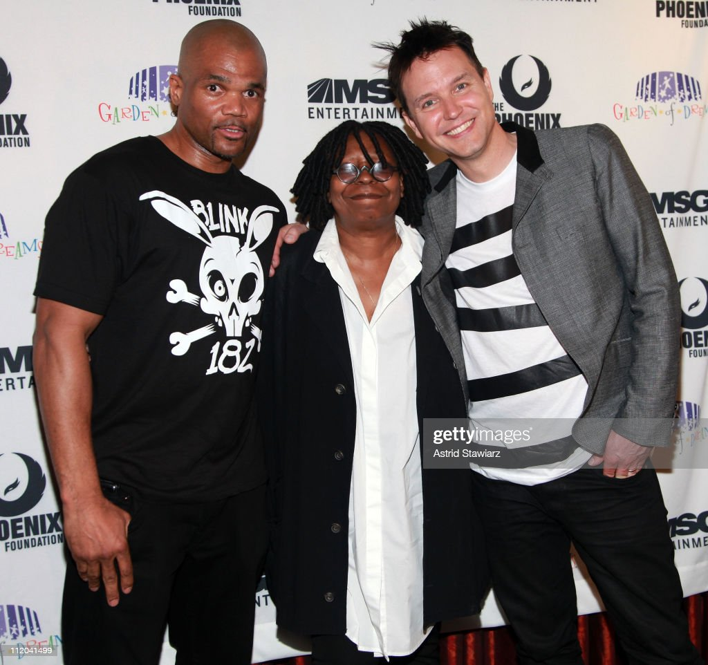 Rapper Darryl 'D.M.C.' Matthews McDaniels of RunÐD.M.C., actress Whoopi Goldberg and singer of Blink 182, Mark Hoppus attend the 2011 Garden of Dreams Talent Show at Radio City Music Hall on April 11, 2011 in New York City.