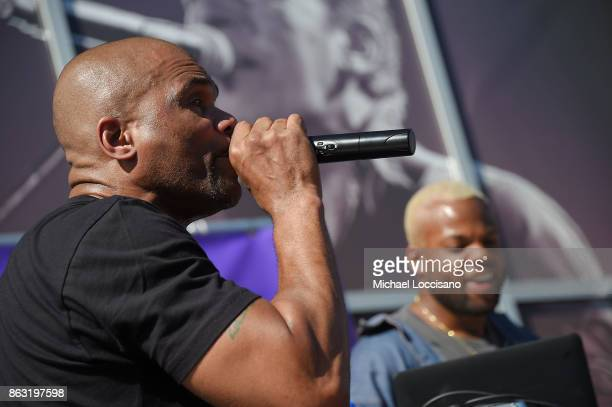 Rapper Darryl DMC McDaniels and DJ Jam Master J'Son perform during the Grammy Museum Experience Prudential Center RibbonCutting Ceremony at...