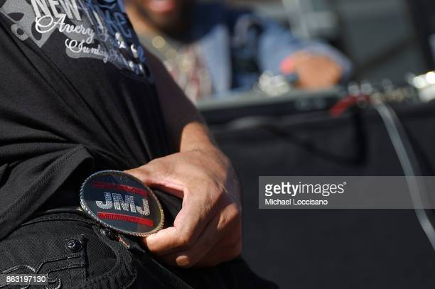 Rapper Darryl DMC McDaniels belt buckle detail performs during the Grammy Museum Experience Prudential Center RibbonCutting Ceremony at Prudential...