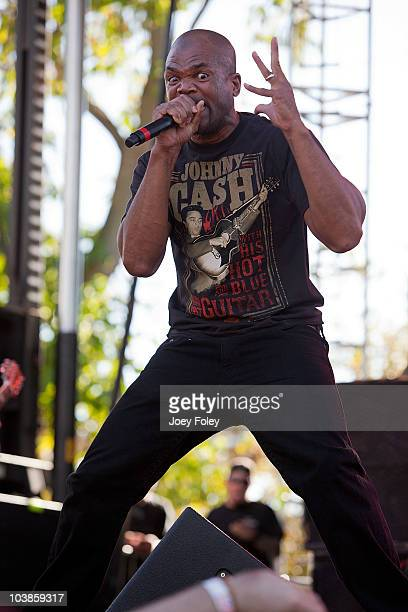 Rapper Darryl 'DMC' McDaniels joins the rock band Jackyl onstage for three songs during the 15th Annual Rib America Festival Day 2 at Military Park...