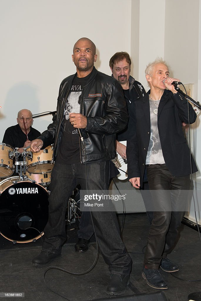Rapper Darryl DMC McDaniels (Left Front) performs at the Dance This Way launch party at WB Wood on February 28, 2013 in New York City.