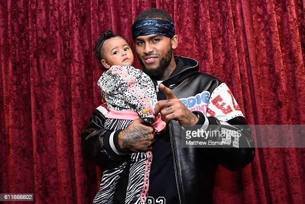 Rapper Dave East with his daughter Kairi Chanel visits the SiriusXM Studios on September 30 2016 in New York City