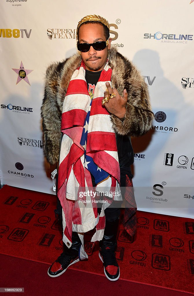 Rapper David Sebastian arrives at the Interscope Geffen A&M Promotions Department 9th Annual Holiday Party And Toy Drive at SupperClub Los Angeles on December 18, 2012 in Los Angeles, California.
